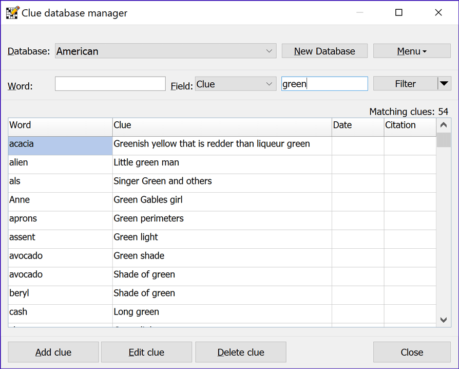 Clue Database Manager window