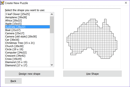 Puzzle shape selection window