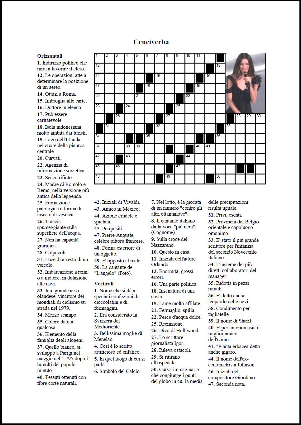 Crossword compiler funzionalit for Cruciverba per anziani da stampare