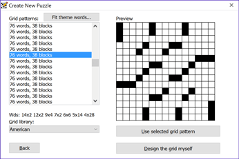 Crossword Compiler's New Puzzle window